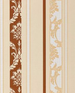 Barock Tapete Streifentapete EDEM 053-21 Damask Relief-Ornamente Flock-Optik braun weiß beige - Vorschau 1