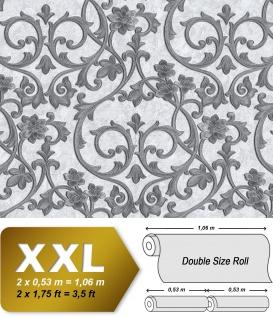 Barock Tapete EDEM 9016-30 Vliestapete geprägt mit floralen Ornamenten und metallischen Akzenten weiß creme-weiß silber platin 10, 65 m2