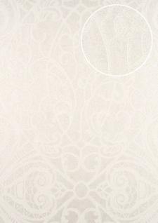 Barock Tapete ATLAS CLA-597-1 Vliestapete geprägt mit grafischem Muster glänzend creme perl-weiß weiß 5, 33 m2
