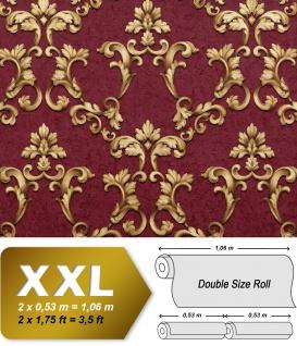 Barock Tapete EDEM 9085-25 heißgeprägte Vliestapete geprägt mit floralen 3D Ornamenten schimmernd rot bordeaux-violett gold 10, 65 m2