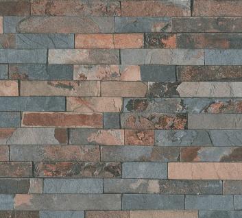 Stein Kacheln Tapete Profhome 355823-GU Vliestapete leicht strukturiert mit Natur-Mustern matt grau braun 5, 33 m2