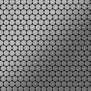 Mosaik Fliese massiv Metall Edelstahl gebürstet in grau 1, 6mm stark ALLOY Penny-S-S-B 0, 88 m2