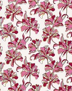 Blumen Tapete EDEM 072-24 Blumentapete Floral Landhaus Designer Vinyltapete Creme pink rot-violett weiß gelb silber