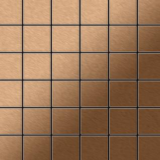 Mosaik Fliese massiv Metall Titan gebürstet in kupfer 1, 6mm stark ALLOY Cinquanta-Ti-AB 0, 94 m2