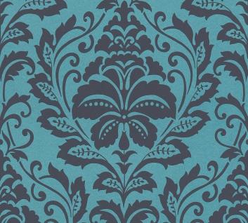 Barock Tapete Profhome 369105-GU Vliestapete glatt im Barock-Stil glänzend blau schwarz grau 5, 33 m2