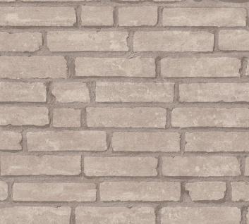 Stein Kacheln Tapete Profhome 377473-GU Vliestapete glatt in Steinoptik matt grau beige 5, 33 m2