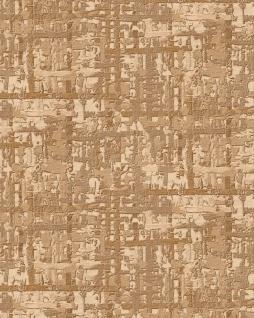 Textiloptik Tapete Profhome DE120094-DI heißgeprägte Vliestapete geprägt mit abstraktem Muster schimmernd gold beige 5, 33 m2