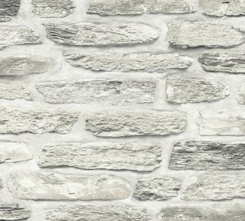 Stein Kacheln Tapete Profhome 364783-GU Vliestapete glatt in Steinoptik matt grau beige creme 5, 33 m2