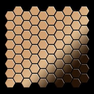 Mosaik Fliese massiv Metall Titan hochglänzend in kupfer 1, 6mm stark ALLOY Honey-Ti-AM 0, 92 m2 - Vorschau 3