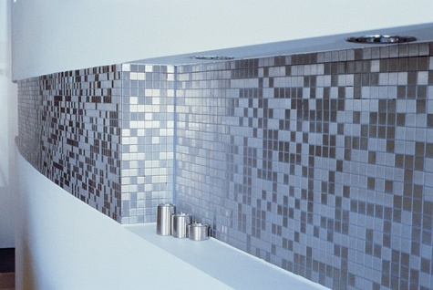 Mosaik Fliese massiv Metall Edelstahl gebürstet in grau 1, 6mm stark ALLOY Mosaic-S-S-B 1, 04 m2 - Vorschau 5