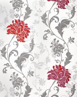 Blumen Tapete EDEM 833-25 edles florales Design Blüten Blätter Blumentapete rot bordeaux grau weiß 70 cm