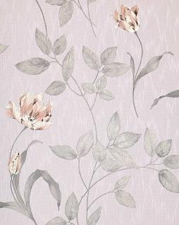 3D Blumentapete Floral Tapete EDEM 769-37 Hochwertige geprägte Blumen Textil Optik Pastell-blaulila blasses rosa flieder