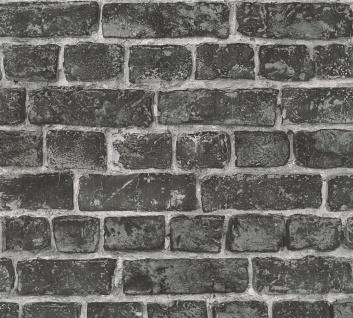Stein Kacheln Tapete Profhome 306822-GU Vliestapete glatt in Steinoptik matt schwarz grau 5, 33 m2