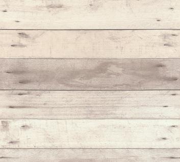 Holz Tapete Profhome 368702-GU Vliestapete glatt in Holzoptik matt grau weiß beige 5, 33 m2