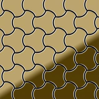 Mosaik Fliese massiv Metall Titan hochglänzend in gold 1, 6mm stark ALLOY Ubiquity-Ti-GM Designed by Karim Rashid 0, 75 m2