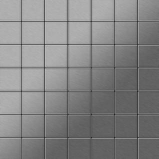Mosaik Fliese massiv Metall Edelstahl marine gebürstet in grau 1, 6mm stark ALLOY Attica-S-S-MB 0, 85 m2
