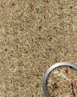 Wandverkleidung Natur Dekor WallFace AL-11001 ALPINE PURE selbstklebende Tapete strukturiert mit echten unbehandelten alpinen Blumen und Gräsern matt braun beige 4, 026 m2