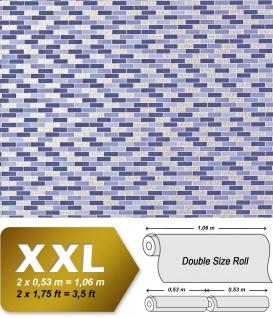 Stein Tapete Kacheln XXL Vliestapete EDEM 991-37 Fliesen Optik Metallic Ornamente lila flieder violett silber platin metallic 10, 65 m2