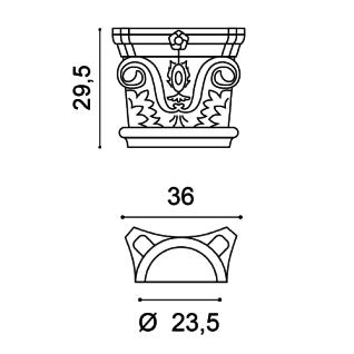 Stuck Halbsäule Orac Decor K1121 LUXXUS Kapitell halbes Kapitell Wand Dekor Element Polyurethan stoßfest - Vorschau 2