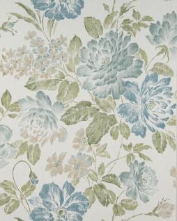 Blumen Tapete Profhome BV919082-DI heißgeprägte Vliestapete strukturiert im romantischen Design matt weiß oliv-grün grün-blau 5, 33 m2