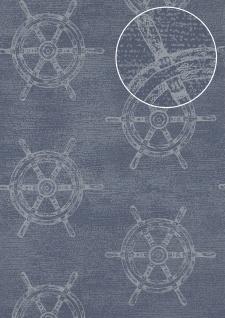 Grafik Tapete Atlas SIG-585-3 Vliestapete glatt im maritimen Design schimmernd blau tauben-blau weiß 5, 33 m2