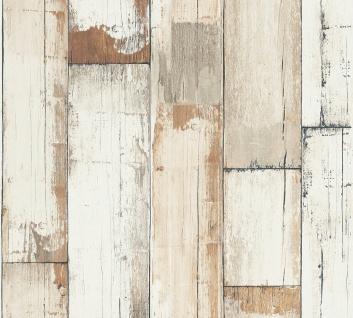Holz Tapete Profhome 368941-GU Vliestapete glatt in Holzoptik matt creme weiß braun 5, 33 m2