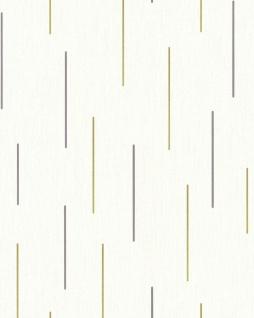 Streifen Tapete EDEM 85043BR20 Vinyltapete leicht strukturiert mit grafischem Muster und metallischen Akzenten creme perl-weiß gold silber 5, 33 m2
