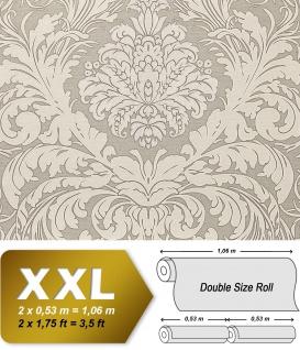 Barock Tapete EDEM 9017-37 heißgeprägte Vliestapete geprägt mit floralen Ornamenten glitzernd creme grau silber 10, 65 m2