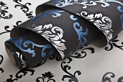 Barock Tapete EDEM 85026BR22 Vinyltapete glatt mit Ornamenten und metallischen Akzenten anthrazit dunkel-grau violett-blau silber 5, 33 m2 - Vorschau 3