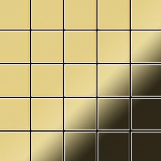 Mosaik Fliese massiv Metall Messing gewalzt in gold 1, 6mm stark ALLOY Century-BM 0, 5 m2