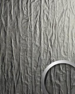 Wandverkleidung Metalloptik WallFace 19523 CRASHED Old Platin Wandpaneel geprägt im Used look matt selbstklebend abriebfest platin 2, 6 m2