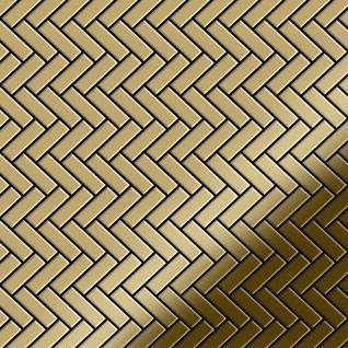 Mosaik Fliese massiv Metall Titan hochglänzend in gold 1, 6mm stark ALLOY Herringbone-Ti-GM 0, 94 m2