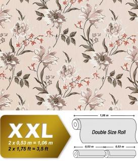 Blumen Tapete Vliestapete Landhaus Tapete EDEM 900-12 Floral Designer hochwertige Textiloptik Beige grau weiß 10, 65 qm