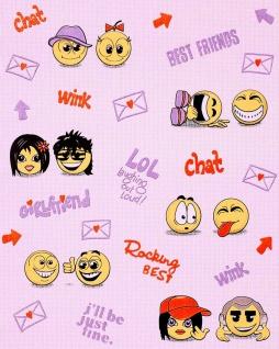 Kindertapete EDEM 037-24 Fun Manga Anime Chat Smileys universelle Kinder-Jugend-Zimmer Tapete rosa gelb lila