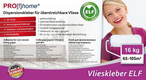 Vlieskleber Profhome Fertig-Kleber für Malervlies Renoviervlies Anstrichvlies Vlies Gewebe-Tapeten ELF 16 kg max 105 qm - Vorschau 2