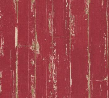 Holz Tapete Profhome 368561-GU Vliestapete leicht strukturiert in Holzoptik matt rot 5, 33 m2