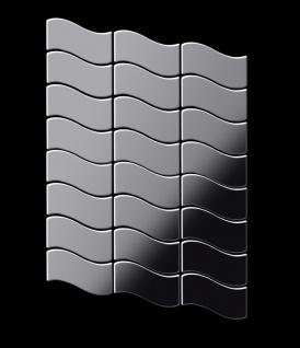 Mosaik Fliese massiv Metall Edelstahl marine hochglänzend in grau 1, 6mm stark ALLOY Flux-S-S-MM Designed by Karim Rashid 0, 86 m2 - Vorschau 3