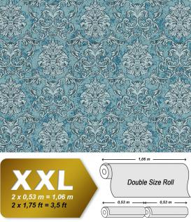 Barock Tapete EDEM 6001-95 Vliestapete geprägt mit Ornamenten glitzernd türkis silber petrol 10, 65 m2