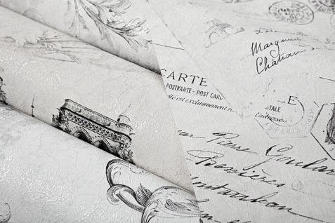 Romantische Tapete EDEM 9050-10 Vliestapete geprägt im Shabby Chic Stil Paris Eiffelturm Notre Dame schimmernd weiß grau anthrazit 10, 65 m2 - Vorschau 2