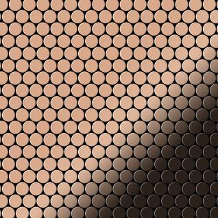 Mosaik Fliese massiv Metall Kupfer gewalzt in kupfer 1, 6mm stark ALLOY Penny-CM 0, 92 m2