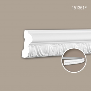 Wand- und Friesleiste PROFHOME 151351F Stuckleiste Flexible Leiste Zierleiste Neo-Klassizismus-Stil weiß 2 m