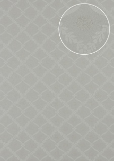 Barock Tapete Atlas PRI-550-1 Vliestapete glatt mit Ornamenten matt grau oliv-grau kiesel-grau perl-beige 5, 33 m2