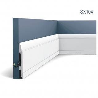 Stuck Sockelleiste Orac Decor SX104 LUXXUS Fußleiste Zier Profil Kabelschutz Leiste Bodenleiste stoßfest | 2 Meter