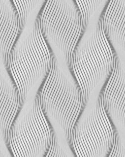 Streifen Tapete EDEM 85030BR36 Vinyltapete leicht strukturiert mit geschwungenen Linien und metallischen Akzenten grau licht-grau weiß silber 5, 33 m2