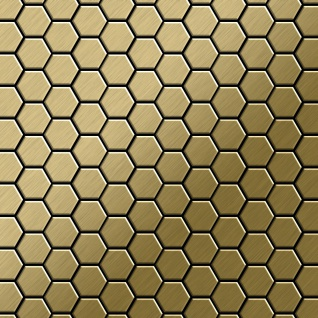 Mosaik Fliese massiv Metall Titan gebürstet in gold 1, 6mm stark ALLOY Honey-Ti-GB 0, 92 m2
