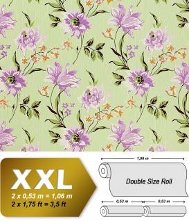 Blumen Tapete Vliestapete Landhaus Tapete EDEM 900-18 Floral Designer hochwertige Textiloptik grün lila olive 10, 65 qm