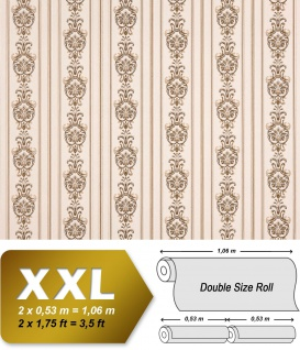 3D Barock Tapete Streifen XXL Vliestapete EDEM 660-93 Elegantes Barockmuster Textil-Optik creme beige braun 10, 65 m2