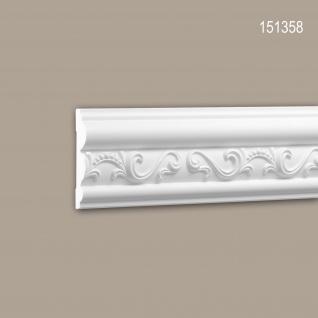 Wand- und Friesleiste PROFHOME 151358 Stuckleiste Zierleiste Friesleiste Neo-Empire-Stil weiß 2 m