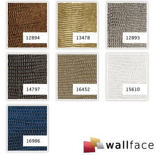 Wandpaneel Leder WallFace 12893 LEGUAN Design Blickfang Deko Selbstklebende  Tapete Wandverkleidung Silber Grau | 2