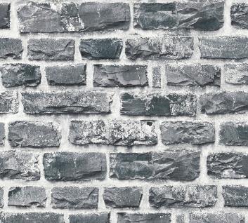 Stein Kacheln Tapete Profhome 361404-GU Vliestapete glatt in Steinoptik matt grau schwarz 5, 33 m2